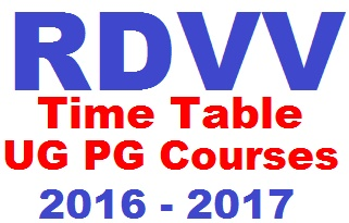 Rdvv ba bcom bsc time table 2018 regular private for Rdvv 5th sem time table