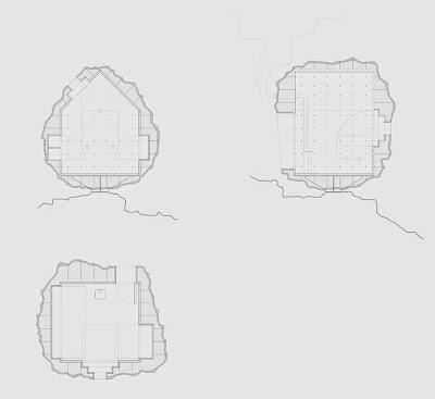Diseño de cabaña en forma de roca
