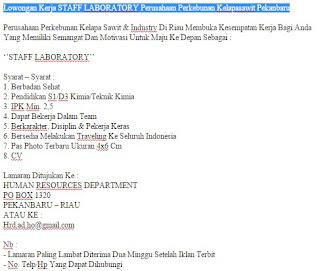 Lowongan Kerja STAFF LABORATORY Perusahaan Perkebunan Kelapasawit Pekanbaru
