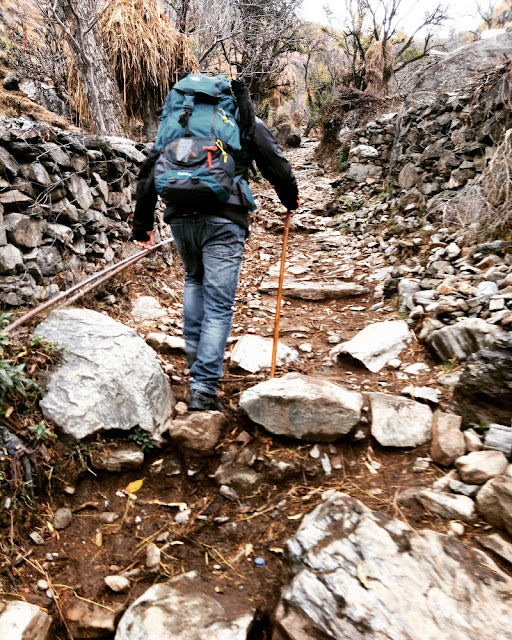 Ascending an uneven path to reach the Nag Tibba base camp