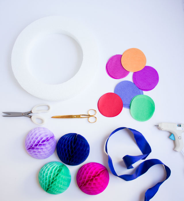 Supplies for DIY summer fiesta wreath