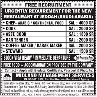 Restaurant jobs in Jeddah Saudi Arabia