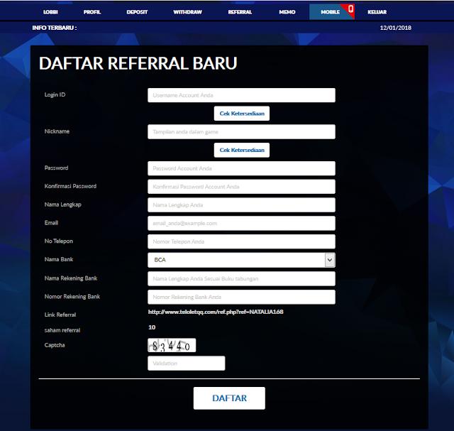 Cara Mendaftar Referral Di Server IDN Dari TeloletQQ