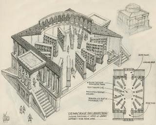رسم كروكى من المصادر الموثقة لشكل مكتبة الإسكندرية القديمة وتنظيمها من الداخل