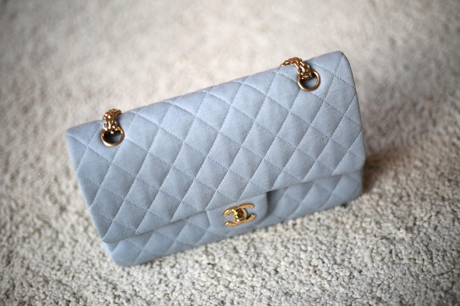 Stina s Vintage Store  Chanel 2.55 flap bag in light blue 2.55 2c4dd2a9d