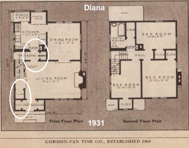 catalog image of floor plan Gordon-Van Tine Diana 1931 indicating closet at base of stairs