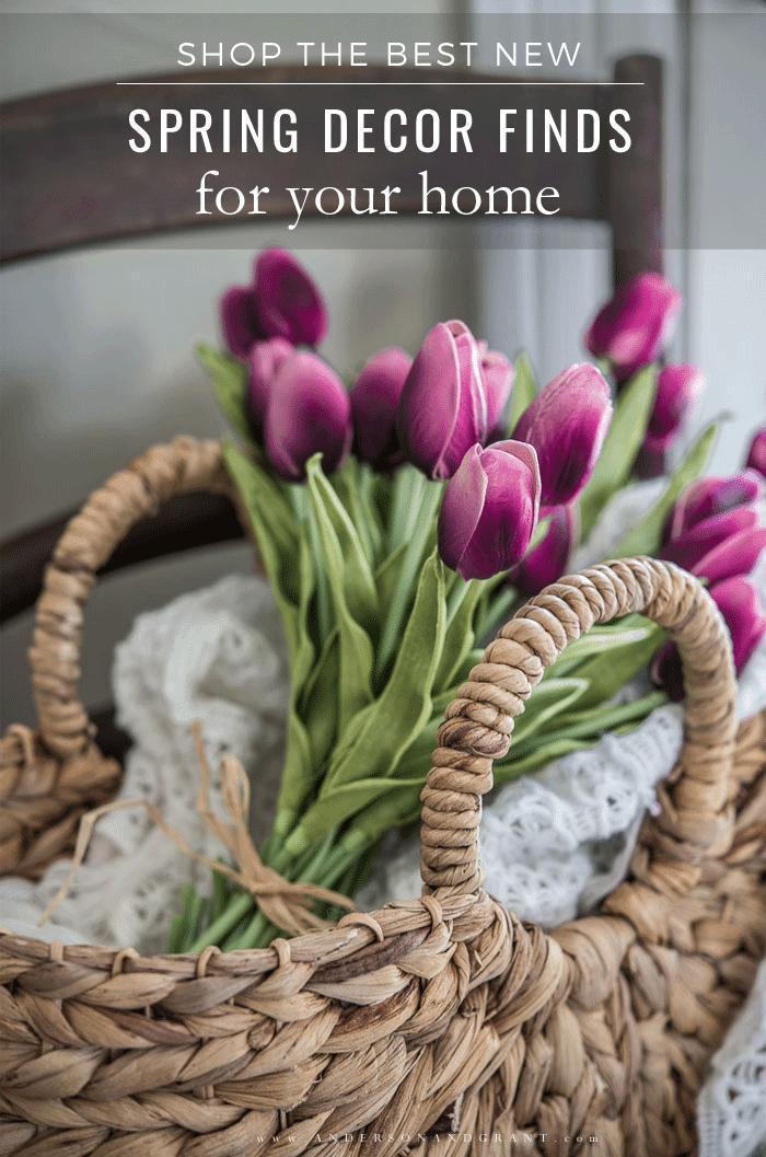 Spring tulips in basket