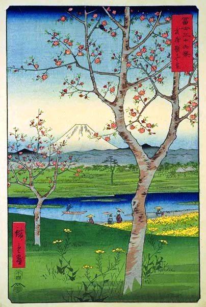 歌川広重『富士三十六景 武蔵越かや在』