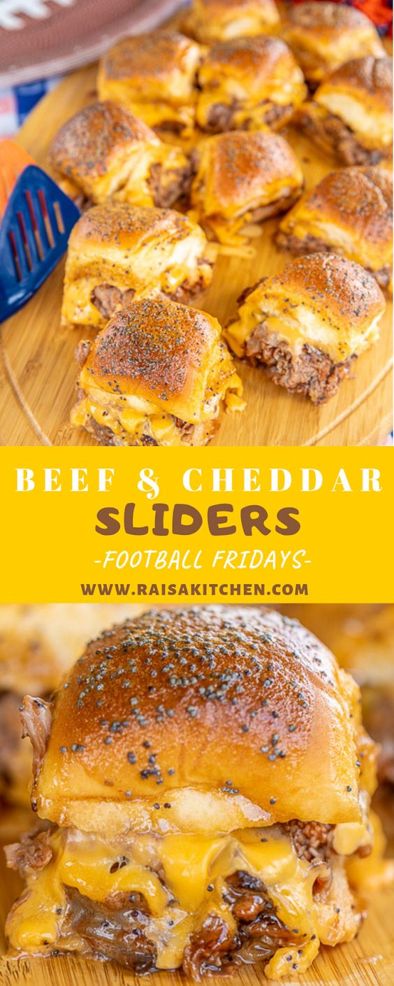 Beef & Cheddar Sliders - perfect for watching football, parties or a quick lunch and dinner. Seriously delicious!! Hawaiian rolls, deli roast beef, bbq sauce, cheddar cheese, butter, dijon mustard, worcestershire, brown sugar and poppy seeds. Can assemble ahead of time and bake when ready to serve. You might want to double the recipe - these don't last long in our house!