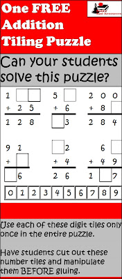 Free addition tiling puzzle from Raki's Rad Resources - great for critical thinking and math concepts.