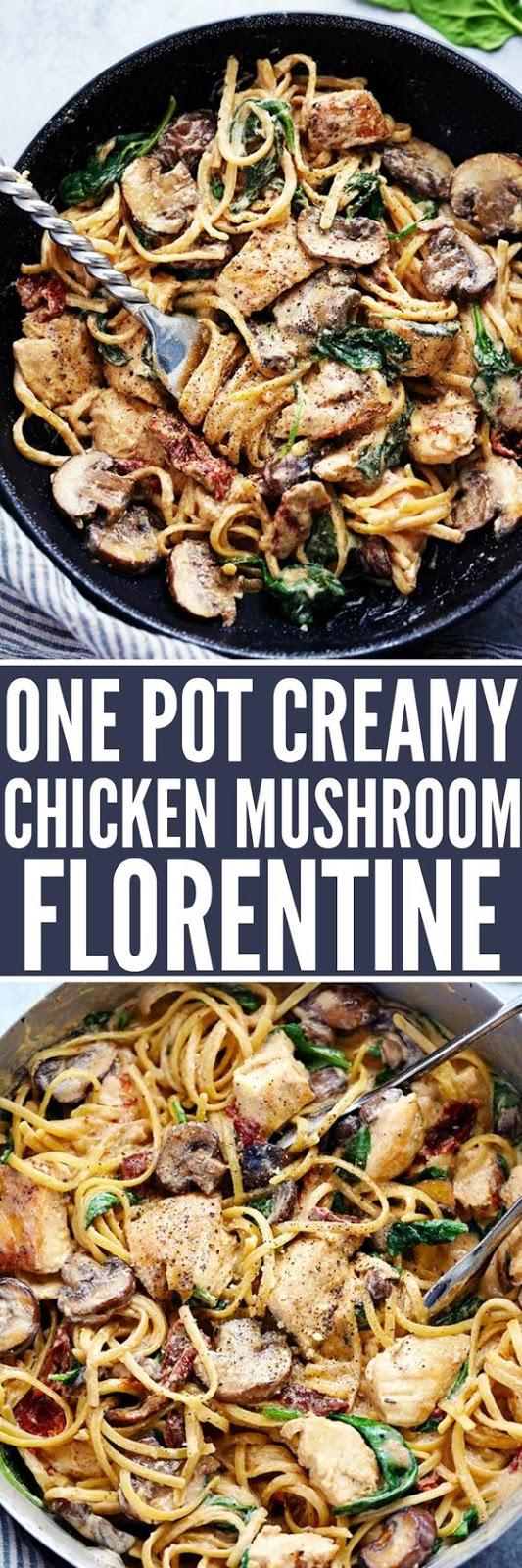 ONE POT CREAMY CHICKEN MUSHROOM FLORENTINE