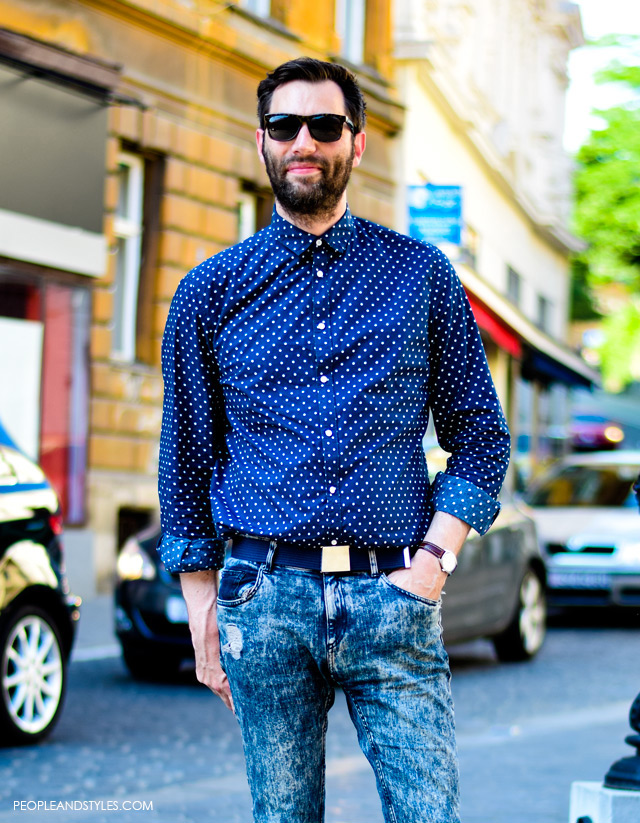 Men's style: polka dot shirt and acid washed skinny jeans, Nino Đula glavni urednik Globusa
