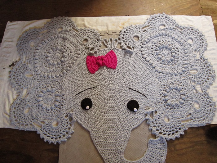 crochet, elephant rug, finished