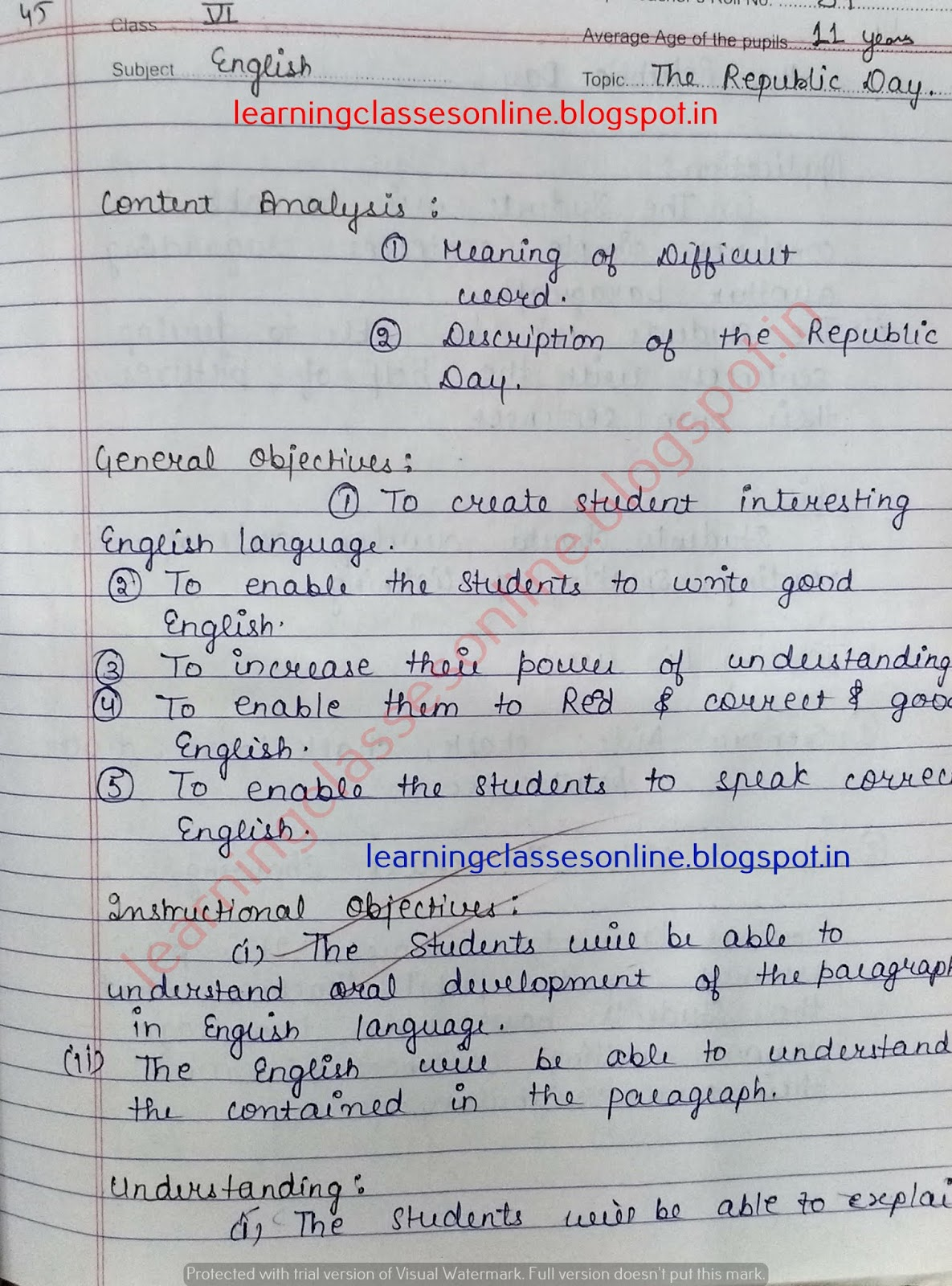 Lesson Plan in English on Republic Day
