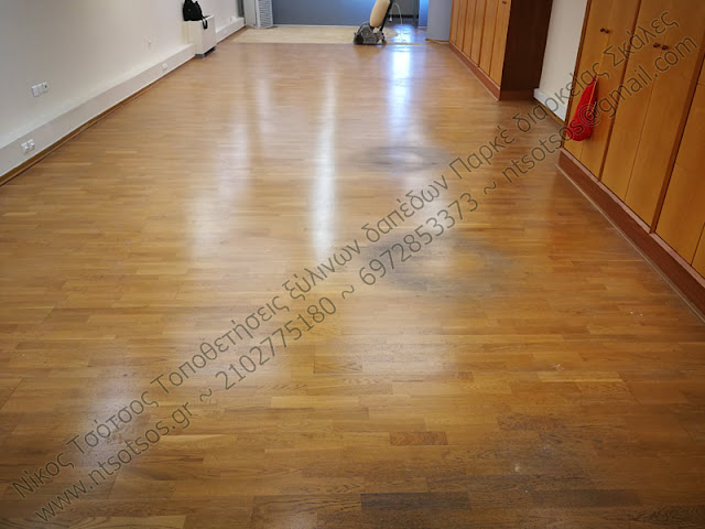 Τρίψιμο και γυάλισμα σε προγυαλισμένο ξύλινο πάτωμα