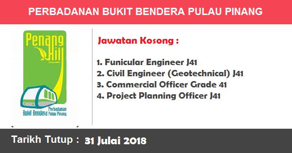 Jawatan Kosong di Perbadanan Bukit Bendera Pulau Pinang (31 Julai 2018)