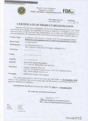Luxxe White FDA Certificate of Product Registration