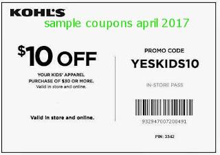 free Kohls coupons for april 2017
