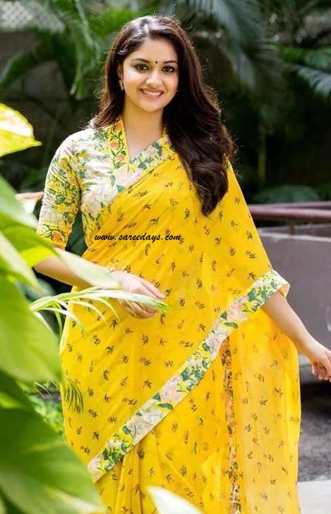 Latest saree designs keerthi suresh in yellow cotton printed saree checkout south indian actress keerthi suresh in yellow cotton printed saree with printed floral appliqued border and paired with matching half sleeves altavistaventures Image collections