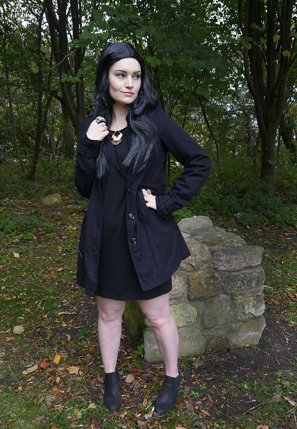 Blogger Wardrobe Conversations demonstrating easy costumes made with a black dress as The Love Witch