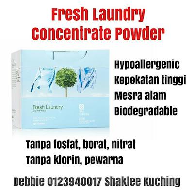Fresh Laundry Concentrate Powder Shaklee - Sabun Basuh Baju Mesra Alam