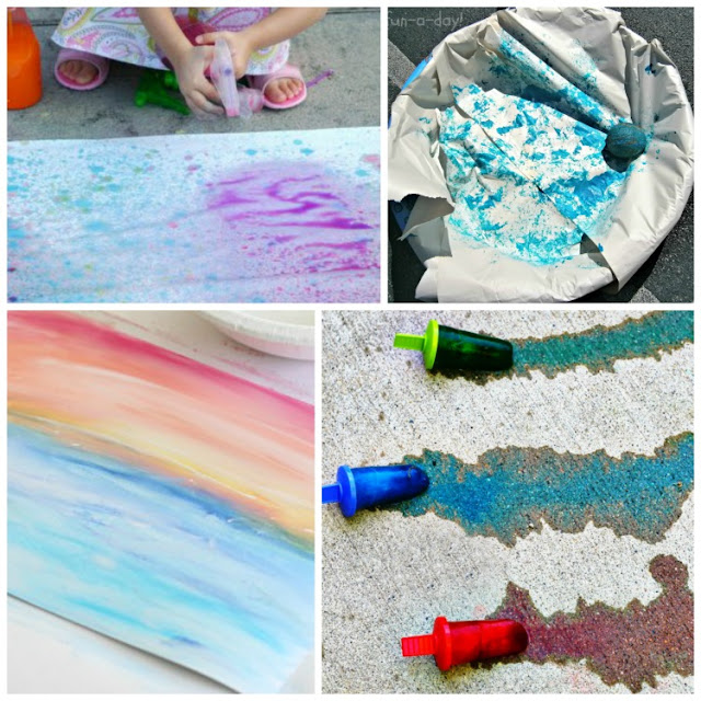 Process Art for Summer - Great summer ideas for using paint, chalk, ice, nature, pastel, sand, and more.  Art projects for toddlers, preschoolers, kindergarten, and elementary!