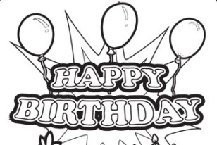 """Coloring & Activity Pages: """"Happy Birthday"""" Sign Coloring Page"""