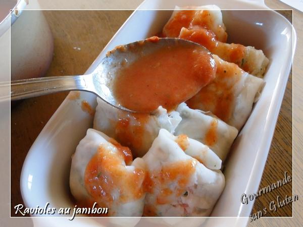 Raviolis feuille de riz sauce tomate, sans gluten