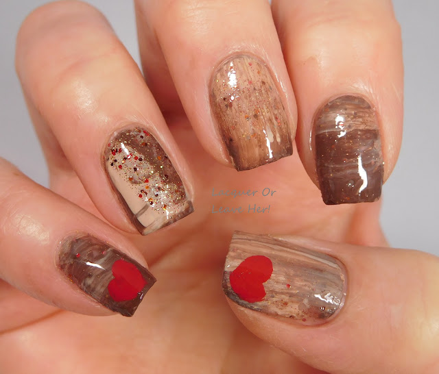 Mish-mosh mani with Zoya Tatum, Cathy, and Gina,  and Spellbound Nails Gingerbread Latte