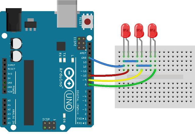 Antarmuka Papan Arduino Uno dengan 3 buah LED