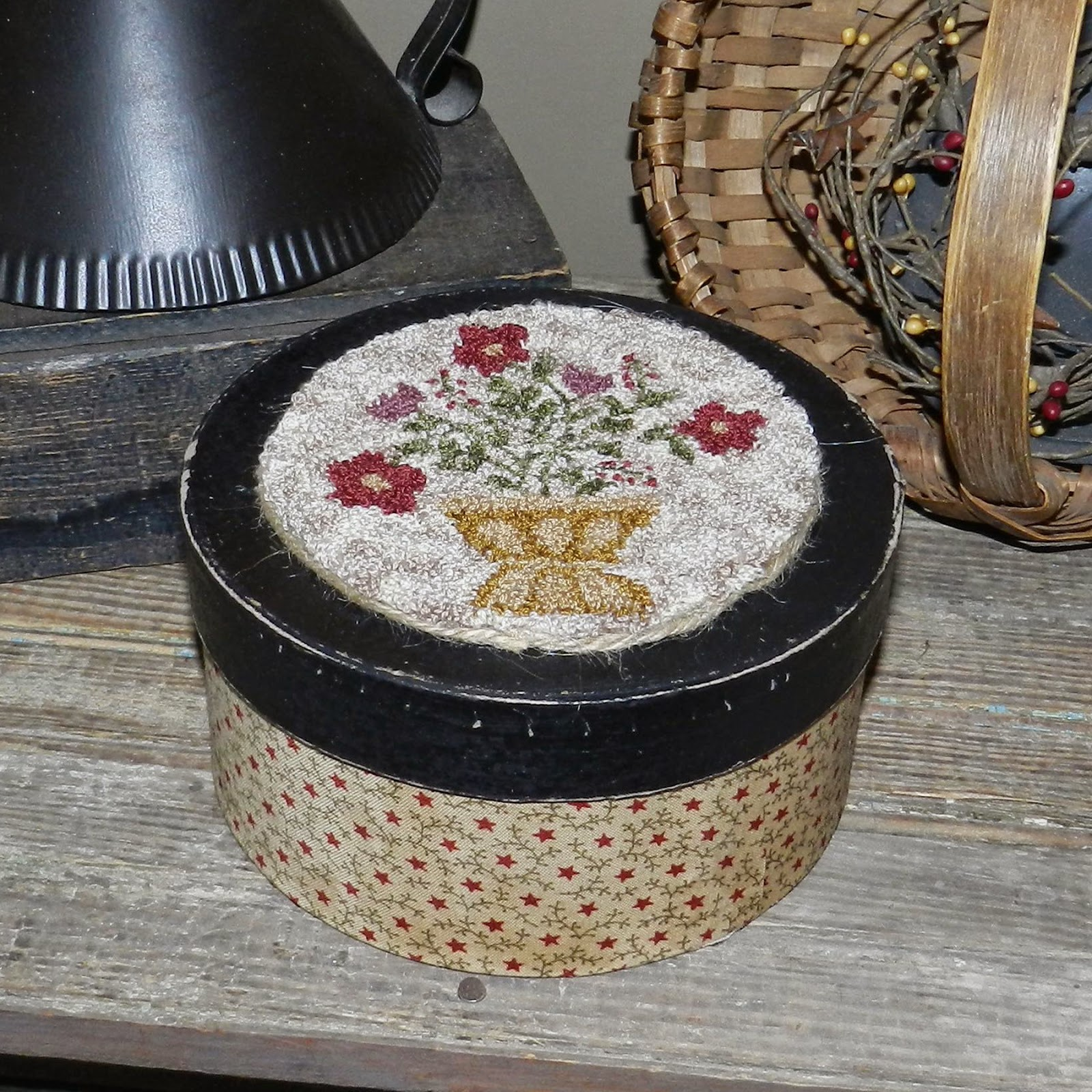 http://www.ebay.com/itm/Primitive-OOAK-Punch-Needle-Mounted-on-Fabric-Box-Flower-Basket-The-Olde-Saltbox-/261848938372?ssPageName=STRK:MESE:IT