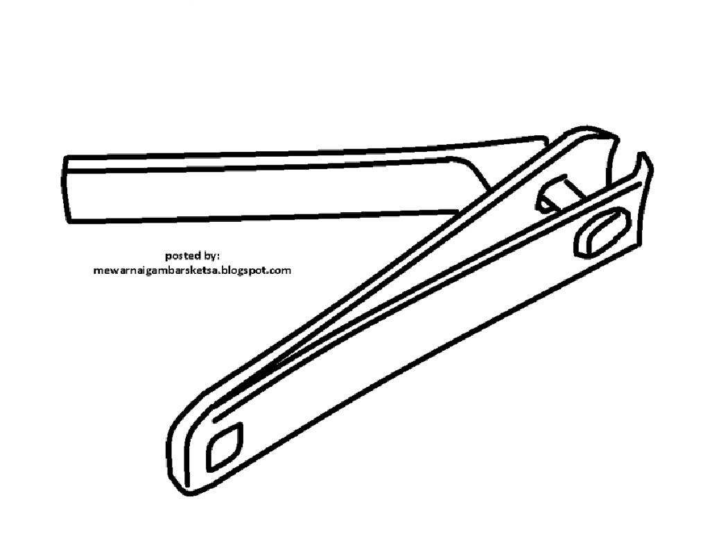Mewarnai Gambar Sketsa Gunting Kuku 1