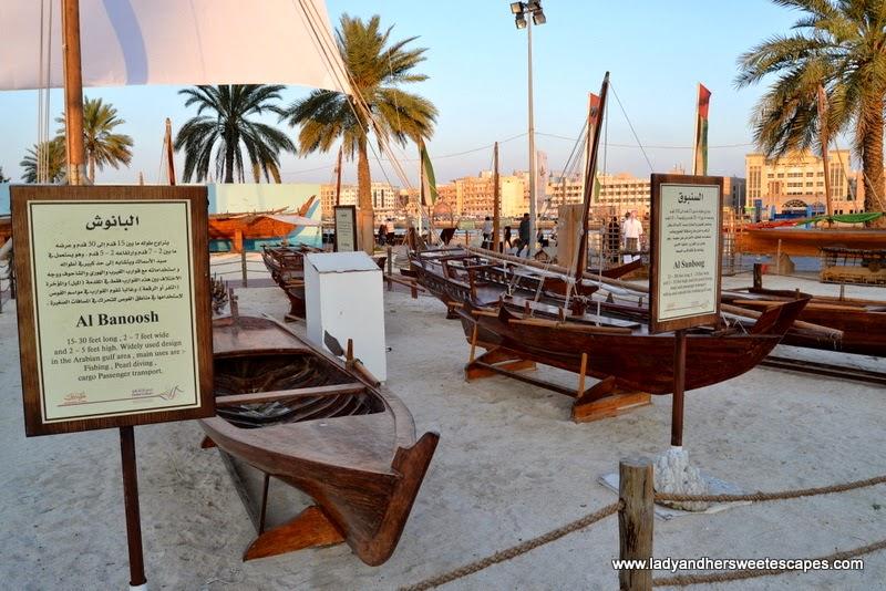 Dubai Cultural Tour: fishing boats at Dubai Heritage Village