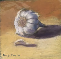soft pastel painting of garlic by Manju Panchal