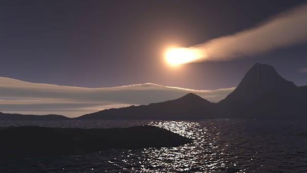 Una bola de fuego cae en el Océano Índico.