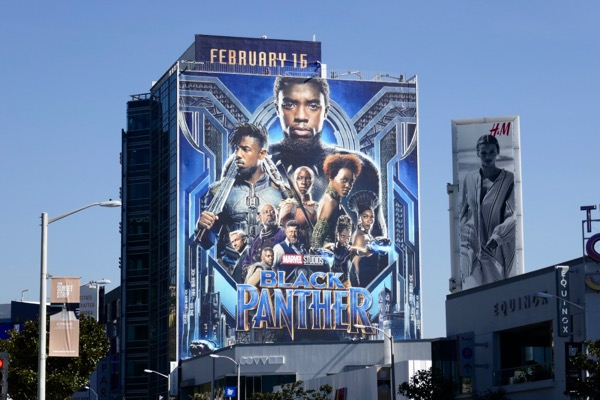 Giant Black Panther movie billboard Sunset Strip