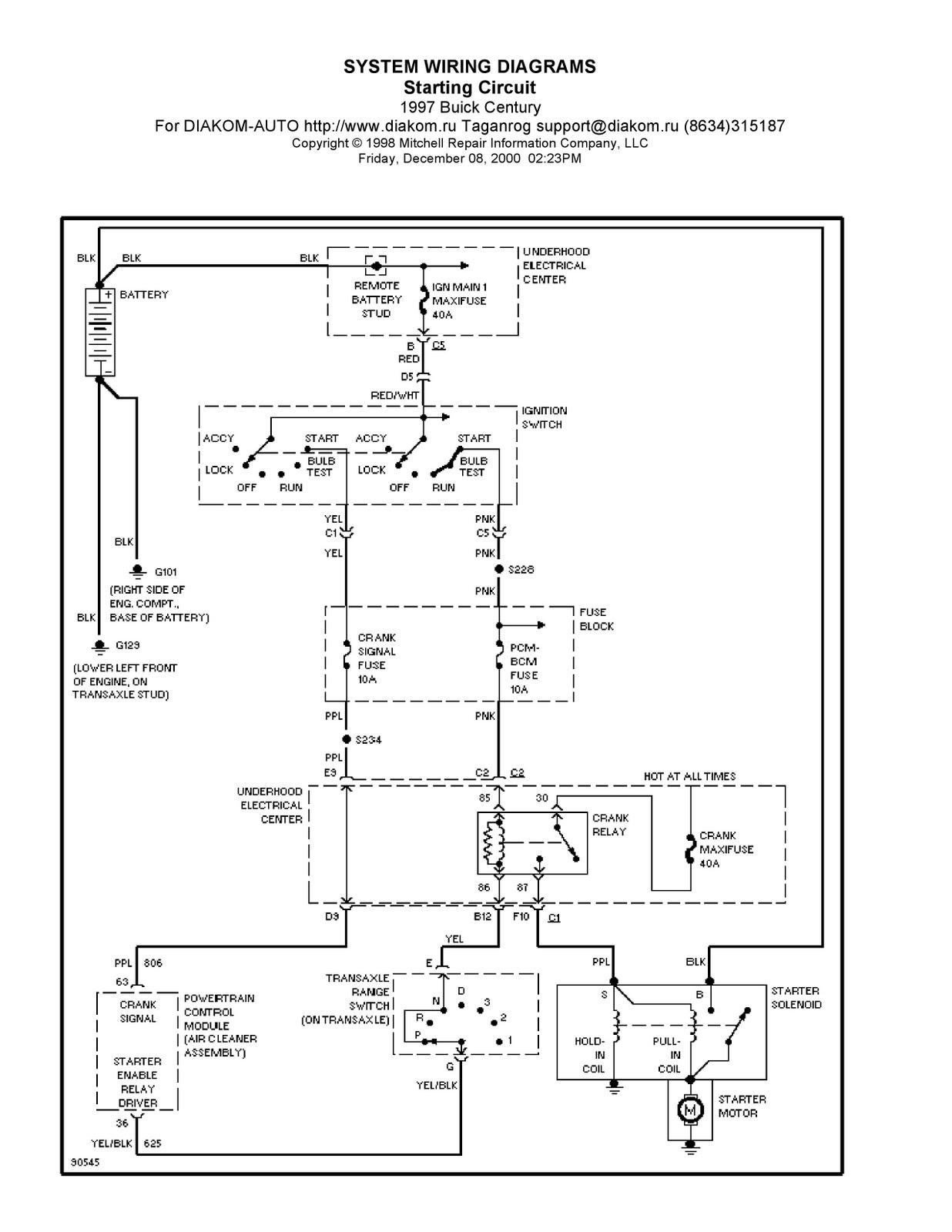 1997 Buick Century System Wiring Diagram Starting Circuit