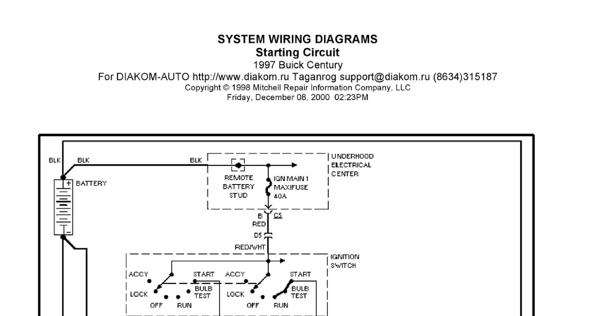 1997 Buick Century System Wiring Diagram Starting Circuit