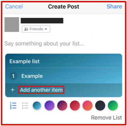 Make List On Facebook