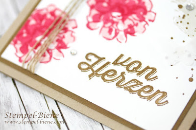 Stampin up Was ich mag, Stampin up Sale a bration; Stampinup Gratisprodukte; Two Steps Technik; Dankeskarte; Stempel-Biene; Stampinup Stempelparty