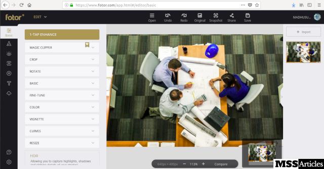Fotor-Editor Screenshot - MSS Articles