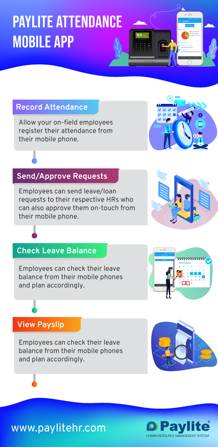 Key features of Paylite Attendance mobile application