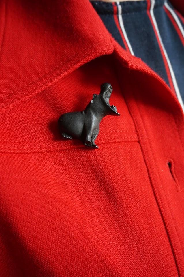 broche hippopotame  hippopotamus brooch