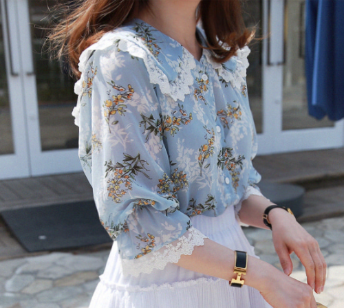 Lace Trim Button-Up Floral Blouse