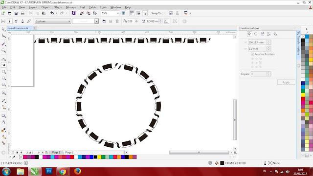 Cara Membuat Objek Mengikuti Lingkaran di Corel Draw X7
