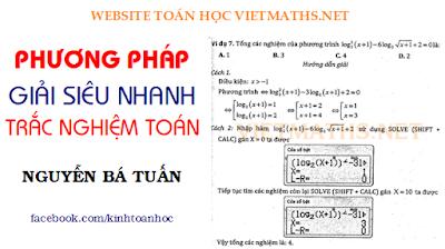 cách tư duy giải nhanh Toán Trắc nghiệm của thầy Nguyễn Bá Tuấn, tu duy giai nhanh toan trac nghiem