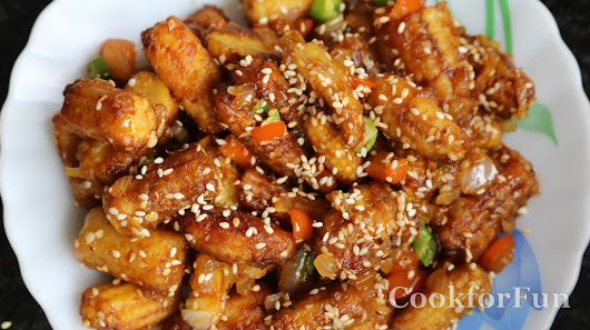 Indo Chinese Crispy Baby Corn Chilli with sesame seeds