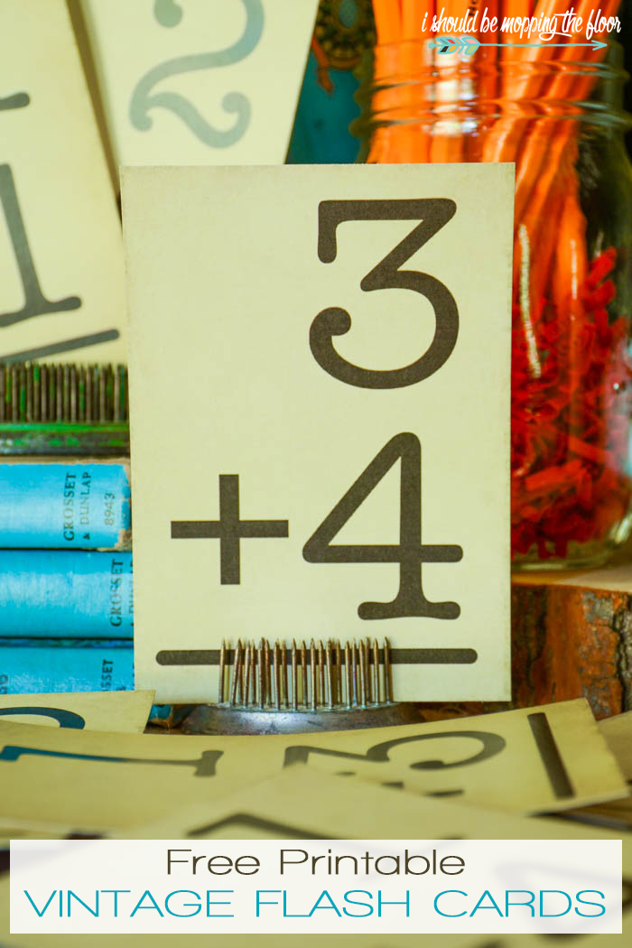 Free Printable Vintage Flash Cards   These fun cards are perfect for banners, display, and more. The vintage grunge is built into the design...just print on white card stock.