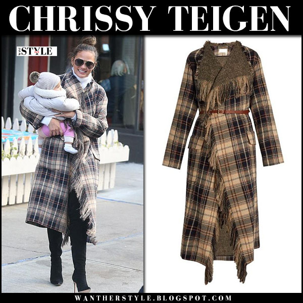 Chrissy Teigen in brown tartan coat chloe and black suede boots jimmy choo toni what she wore
