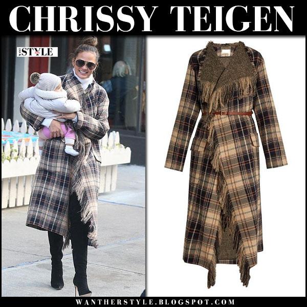 Chrissy Teigen in brown tartan coat chloe and black suede boots jimmy choo toni what she wore